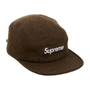 SUPREME ☀ Green Box Logo Harris Tweed Camp Cap Hat